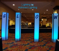 LIGHTED COLUMN-LIGHT BLUE-WITH LETTTERS-ADMIRED